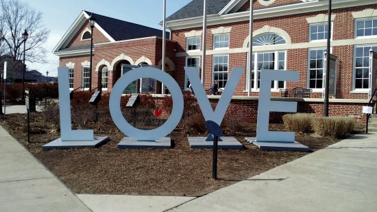 """LOVE"" sign at the Fredericksburg Welcome Center"
