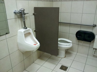 This is a single-seat restroom. Why even bother with the partition?