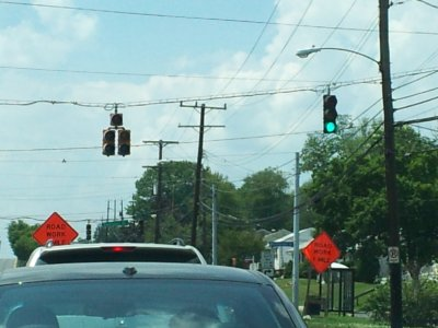 Solid green light out on left turn signal out at Veirs Mill Road and Edmonston Drive in Rockville.