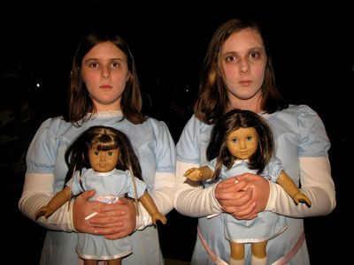 "These two girls, whom I remembered from last year, were dressed up as characters from The Shining this time around.  They would come up to people and say, in unison, ""Come play with us, forever and ever and ever,"" with the blank expressions that you see here (more nightmare fuel!)."