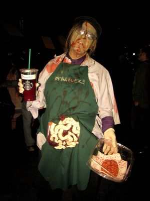 Zombie Starbucks barista.  I later went to Starbucks with her, and it was really fun, as everyone enjoyed her costume, customers and employees alike.