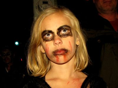Again, the innocent face of a child, when coupled with zombie makeup, is really creepy.