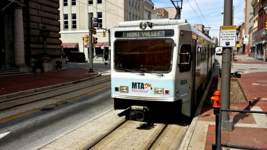 Our LRV departs Lexington Market, photographed from the wheelchair access platform.
