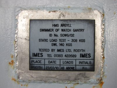 Plate for the swimmer of watch gantry, this one apparently replacing an earlier one.