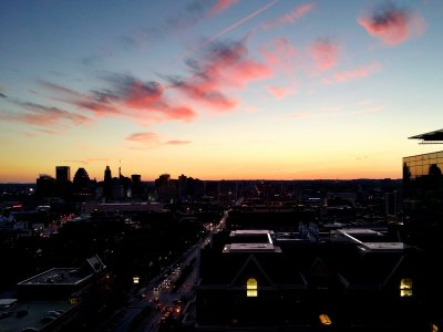 The sunset over Baltimore as viewed from Johns Hopkins