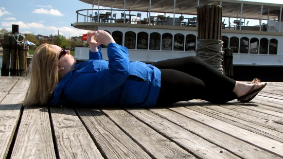 I found Melissa's getting down in an almost lounging position on the dock to get some skyward photos to be mildly amusing, and so I took a photo.