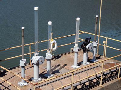 Various intake valves on a platform in Triadelphia Reservoir.
