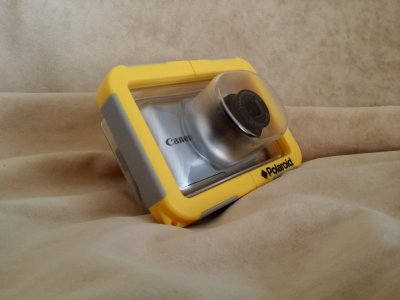 The new waterproof camera enclosure with my point-and-shoot camera inside.