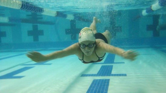 Swimming down the lane.