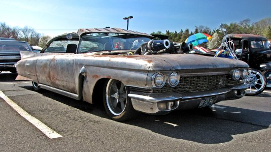 Rat rod built from a fifth-generation Cadillac Eldorado.  I love the rat rods because they are deliberately made to look like a jalopy.  Definitely not something you see every day!