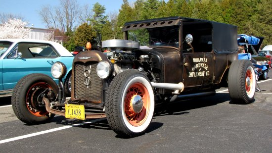 This rat rod is based on a 1920s Ford Model A sedan, with a lot of other customization.