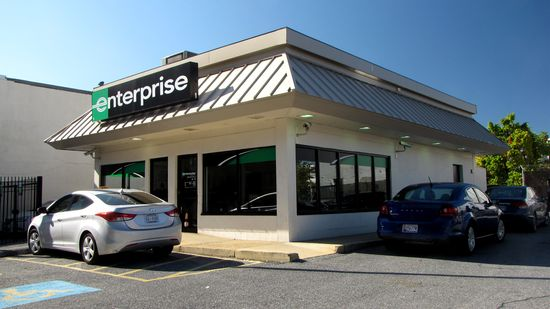 Further down Georgia Avenue, this Enterprise Rent-A-Car facility is housed in a former Burger King.