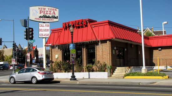 Up the street and around the corner from the McDonald's is New York Pizza, housed in a former KFC. Street View shows this location as being KFC as late as November 2007. It was vacant for a few years, and then first appears as New York Pizza in imagery from June 2011.