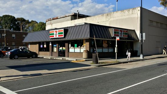 This building, now a 7-Eleven, at the intersection of Bladensburg Road and Neal Street NE, has me stumped. I spent far too long trying to figure out what this was built as. It looks like a chain built it, I couldn't figure out what that chain was. There appears to have once been an entrance on the Bladensburg Road side, but I can't figure out the architecture. The sign appears to have been reused, but I don't know what company that sign shape belonged to. Historical Street View imagery shows that it became a 7-Eleven in 2012. Before that, it was a nail place, and the mansard was shingle. If you recognize it, let me know.