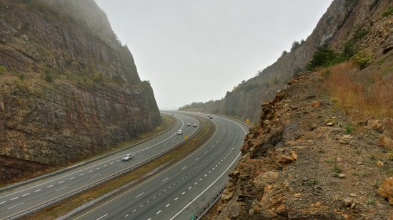 View of the Sideling Hill cut from the observation deck over the eastbound side.