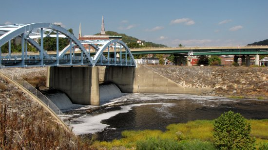 The bridge from Cumberland to Ridgeley, and the area of the Potomac River immediately downstream from it.  There is a waterfall, presumably manmade, directly beneath the bridge.