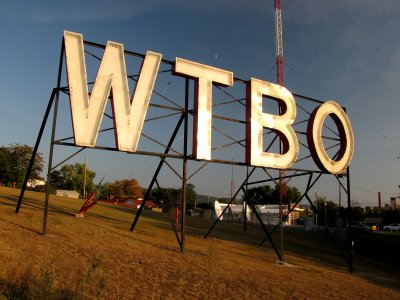 "The WTBO sign, photographed during the ""golden hour"""
