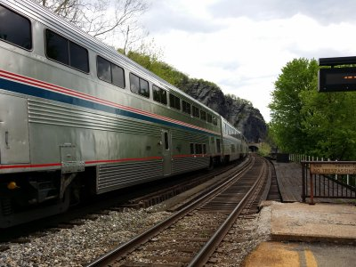 The eastbound Capitol Limited, on the opposite track from normal.