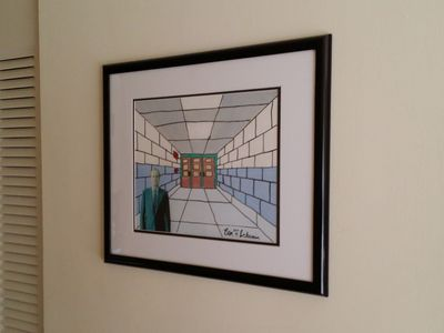 This is a painting that I did in June 1996 during a weeklong arts program that Augusta County did. This is the corridor at Stuarts Draft High School that was right in front of where my locker was located, and where I used to enter and exit the building every day.