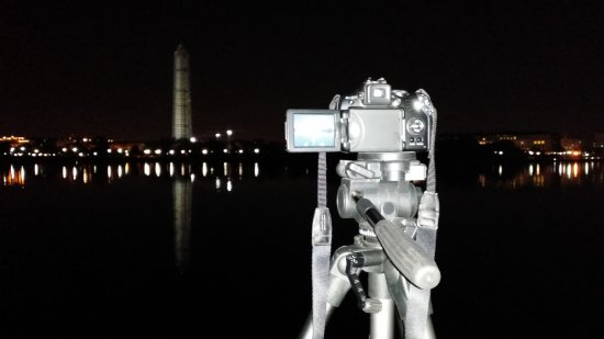 "I took a lot of ""meta"" photos this time around, taking a photo with my cell phone of my real camera on the tripod, ready to go.  This one was taken at the Jefferson Memorial."