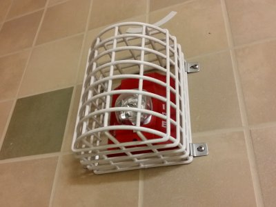 System Sensor fire alarm strobe in the family restroom at the MLK Memorial.  The fact that this strobe is in a big cage in a restroom kind of surprised me.  One would think that this wouldn't be the case.  Usually you see those sorts of things in gymnasiums and such where there is a higher likelihood of such devices' being struck.  A restroom does not fit into that mold.