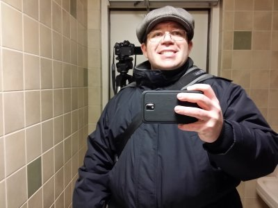 Mirror selfie in the family restroom at the MLK Memorial.  This was taken at around 12:20 AM.