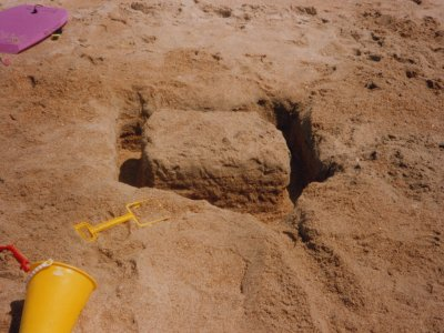 I built this platform in the sand on the first day on the beach.  Look at how square it is.  This was either 1995 or 1996.