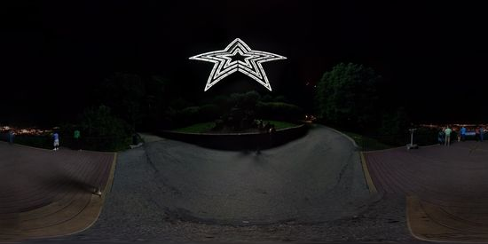 The Roanoke Star, taken from the same bench as before, at night