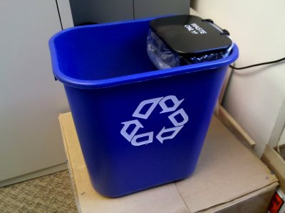 The trash can and recycling bin for the single-stream program