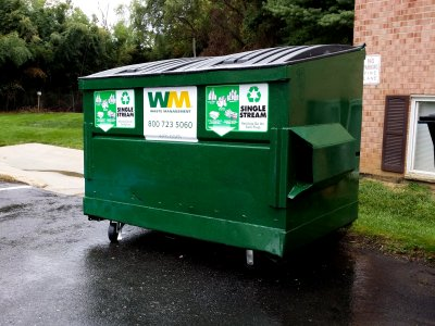 "A dumpster marked ""SINGLE STREAM"""