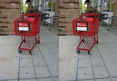 A shopping cart for Staples, which is up the hill in another building