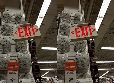 I love the way this exit sign pops out at you!