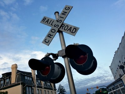 Railroad crossing signal for traffic on Railroad Avenue.