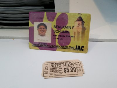 My JAC card and my student ticket for the auto show.  Go Dukes.