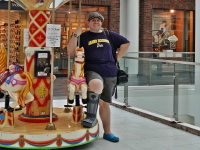 At Pentagon City Mall, sporting a boot cast.