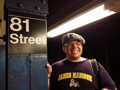 Doreen got this photo of me at the 81st Street subway station on the IND Eighth Avenue Line.