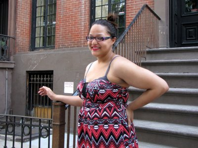 I got this photo of Doreen at 10 St. Luke's Place in Greenwich Village, which most will probably recognize as the house from The Cosby Show.
