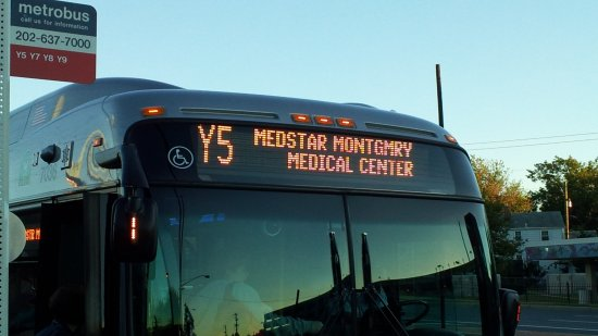 Route Y5, destination MedStar Montgomery Medical Center