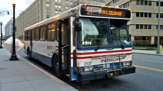 WMATA bus 2137, in position for a passenger stop at L'Enfant Plaza station.