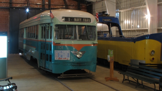 "DC Transit's PCC car 1101, next to ""the boat"""