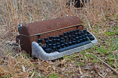 Vintage typewriter in the front yard.