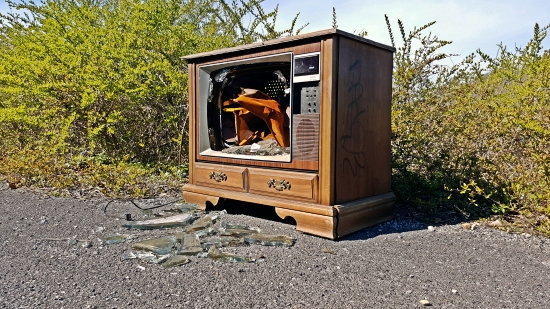 An abandoned RCA XL-100 television set