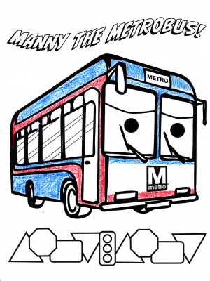 "Elyse's ""Manny the Metrobus"" page. She came up with her own paint scheme."