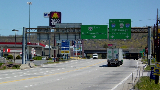 The Breezewood strip, facing east, taken from approximately halfway down.
