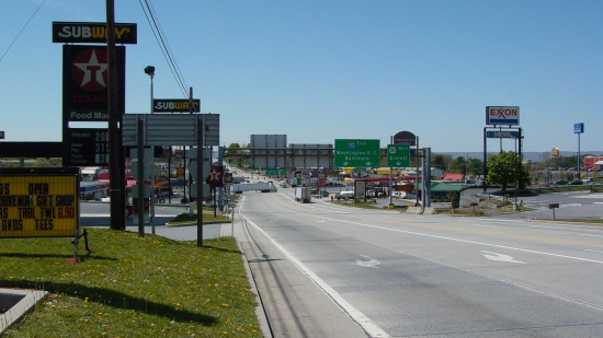 US 30, facing west, showing, more or less, the full Breezewood strip.