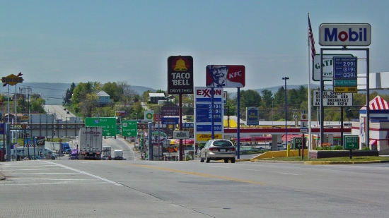 The Breezewood strip, viewed from the Turnpike entrance.