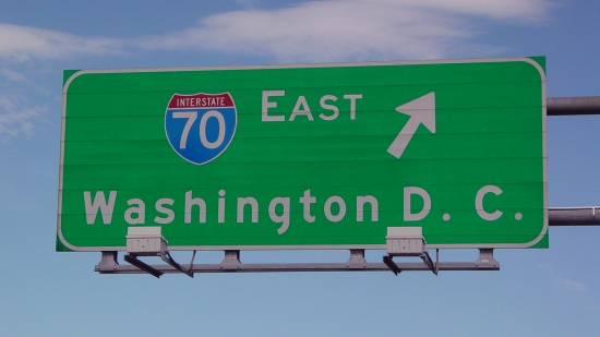 Overhead sign for I-70 facing eastbound Route 30. Funny that it lists DC as the control city, since Interstate 70 goes to Baltimore, not DC. Mind you, Interstate 270 breaks off at Frederick and heads towards the Beltway, but I-70 proper takes a more northerly route and ends up in Baltimore.