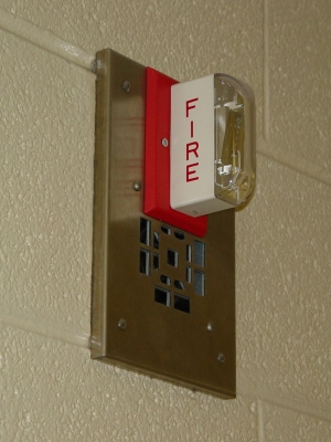 Roop Hall fire alarm notification appliance, circa 2002