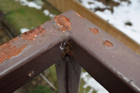 First photo I ever took with my D5300, showing rust on the balcony railing.