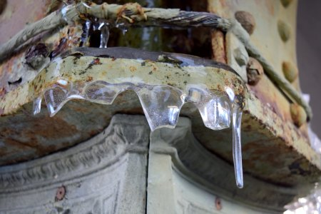 Icicles on a platform column.